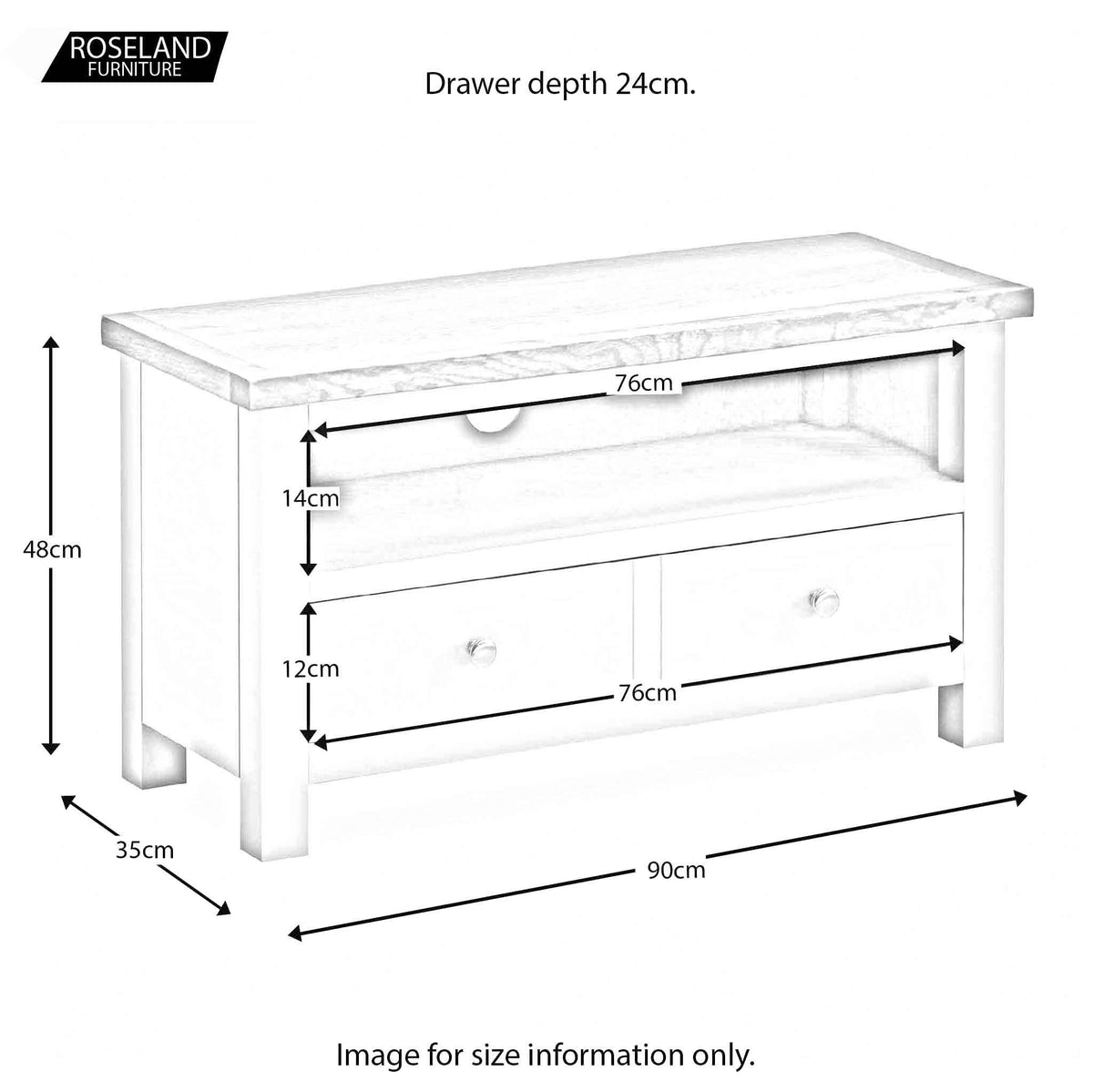 Farrow White 90cm TV Stand unit dimensions