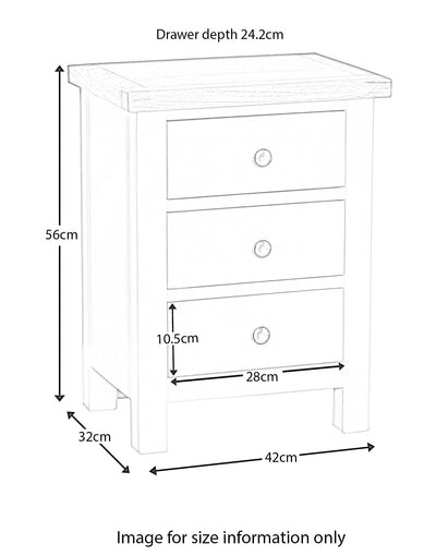 Farrow White 3 Drawer Bedside Table dimensions