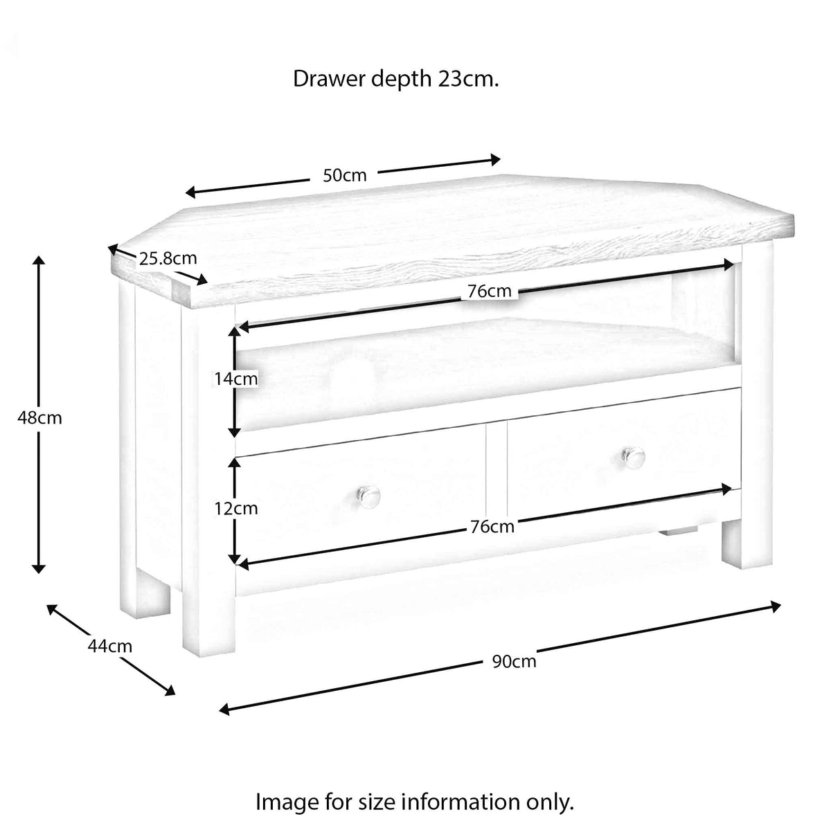 Farrow Grey Corner TV Stand dimensions