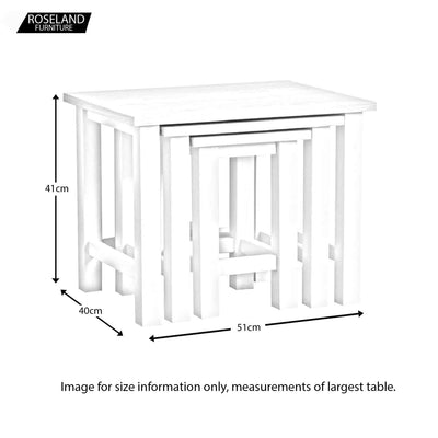 Farrow White Nest of Tables dimensions