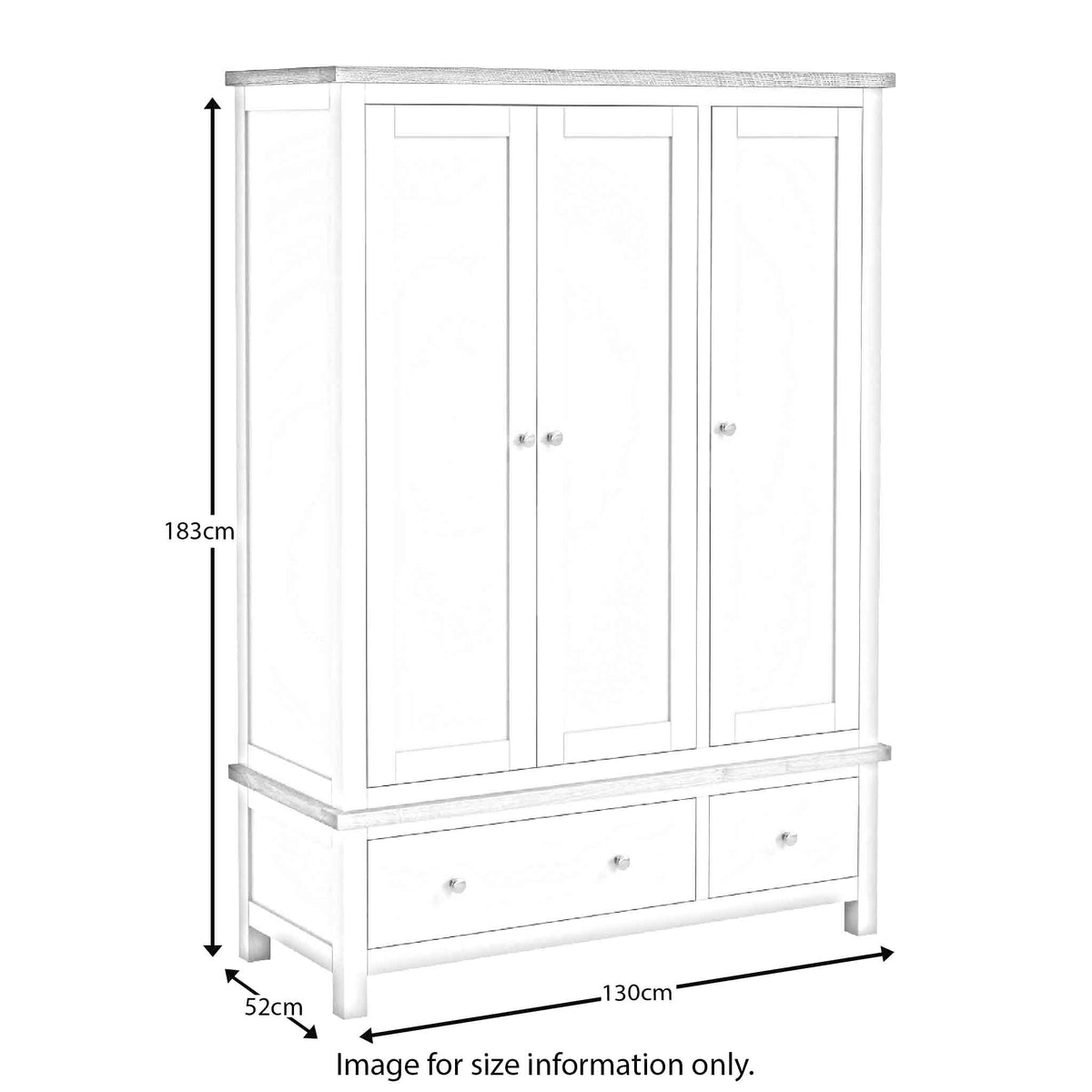 The Farrow Grey Large Wardrobe with 3 Doors & Drawers dimensions