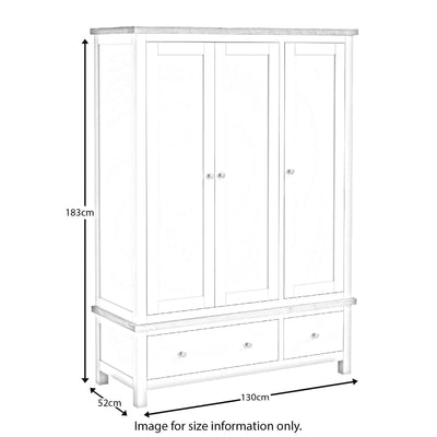 Farrow White Triple Wardrobe dimensions