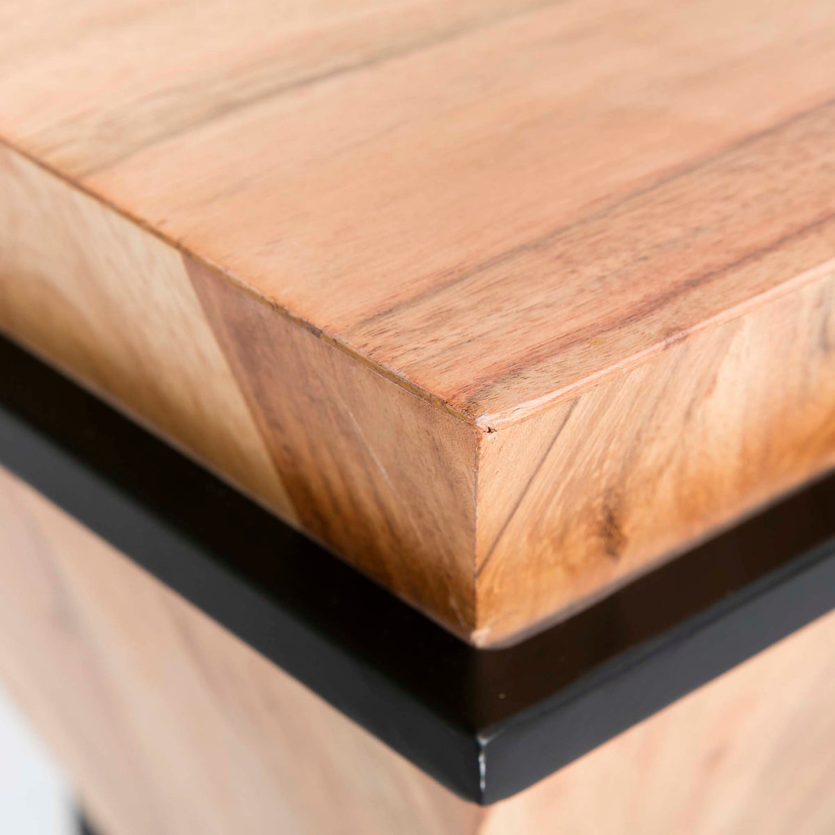 Freya Acacia Medium Cube Side Table - Close up of table corner