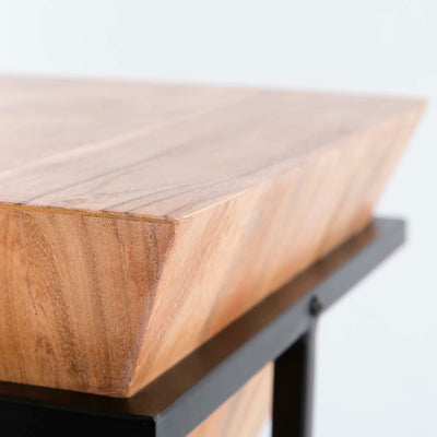 Freya Acacia Small Cube Lamp Table - Close up of corner of table top