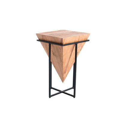 Freya Acacia Medium Cube Side Table - Side view