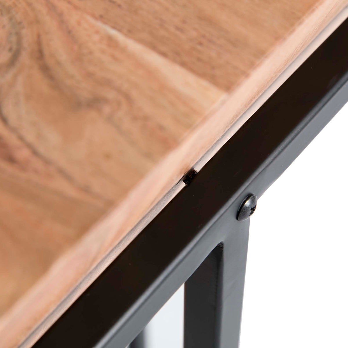 Freya Acacia Medium Cube Side Table - Close up of fixing on table top to base