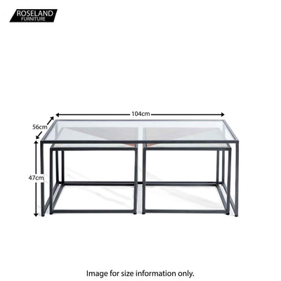 Kandla Glass Topped Coffee Table with White Marble & Wood Nested Tables and grey Bases - Size Guide