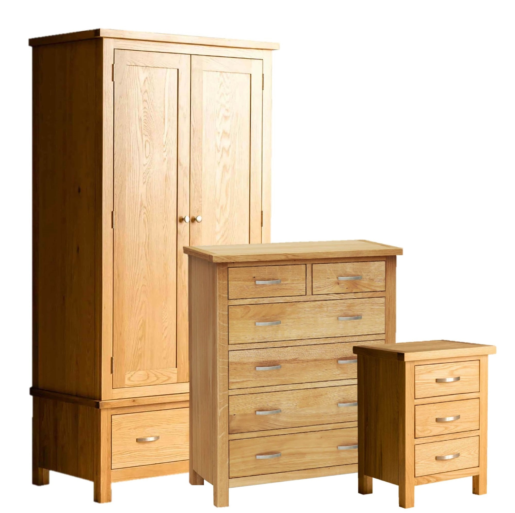 London Oak Bedroom Set = 2 over 4 drawer chest, bedside and double wardrobe by Roseland Furniture