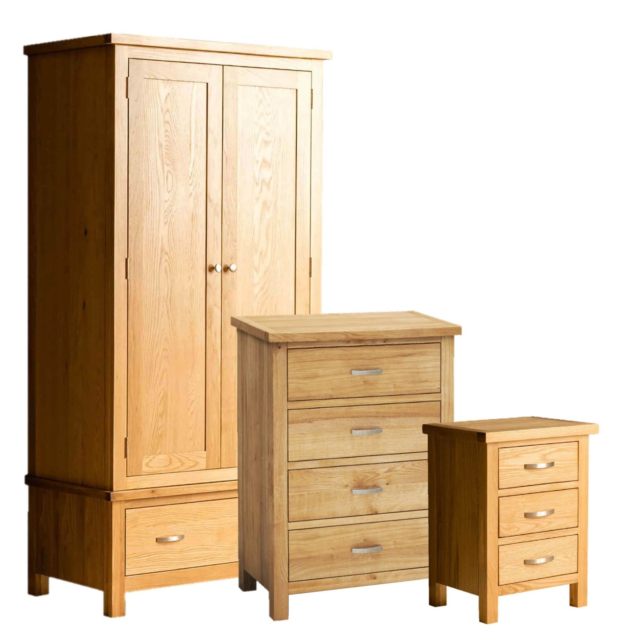 London Oak Bedroom Set = 4 drawer chest, bedside and double wardrobe by Roseland Furniture
