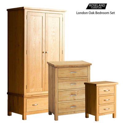 London Oak Bedroom Set = 4 drawer chest, bedside and double wardrobe