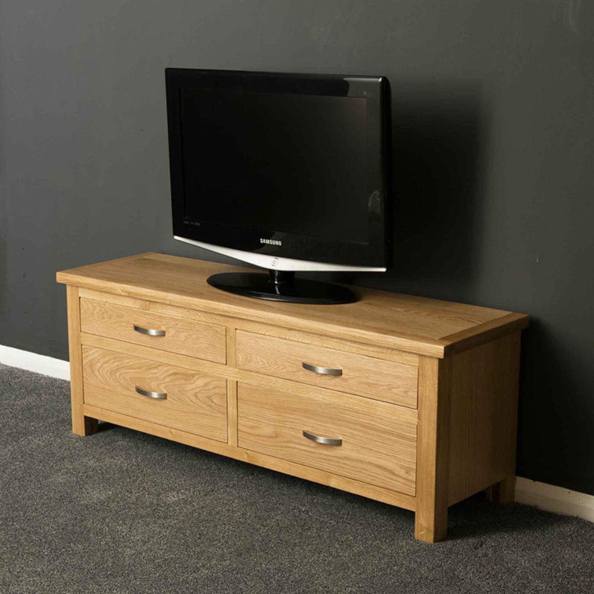 London Oak Large Smart TV Stand side view.