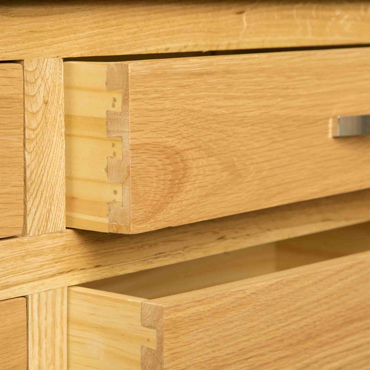 Dovetail joints on a London Oak Large Smart TV Stand.