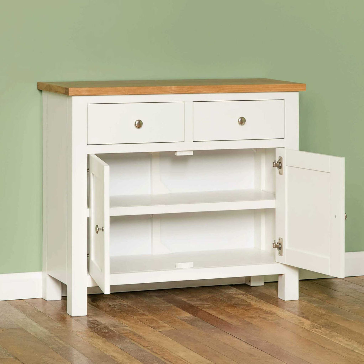Farrow White Small Sideboard - Lifestyle side view with doors open