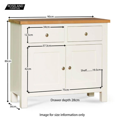 Farrow White Small Sideboard - Size Guide