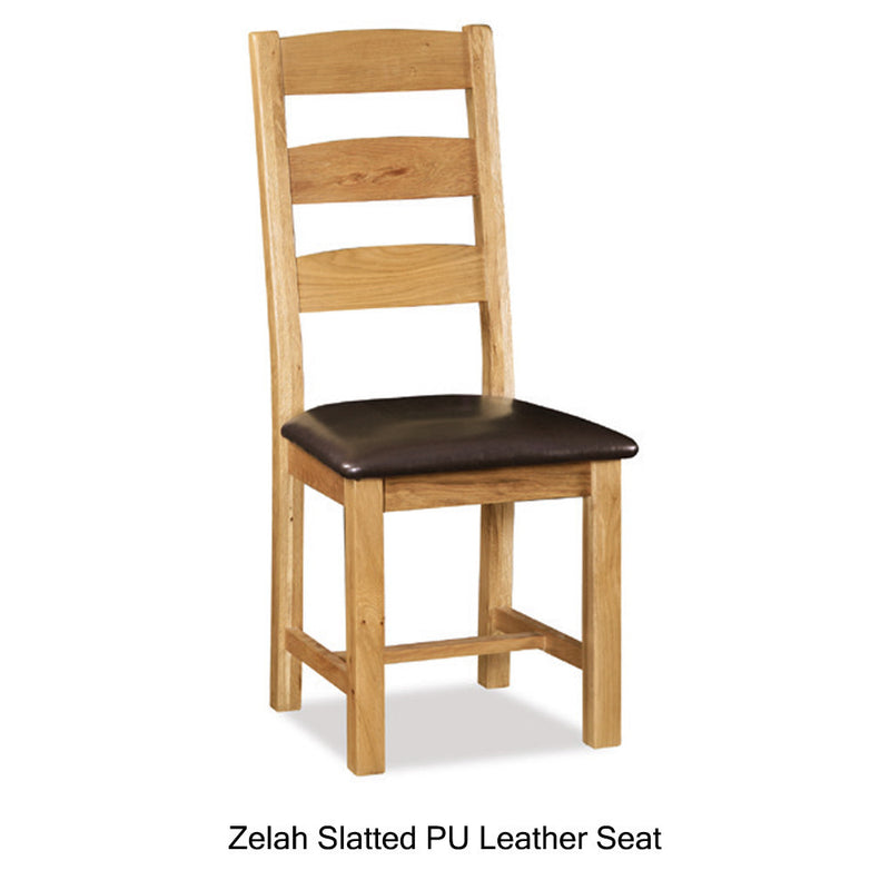 Zelah slatted PU leather seat chair