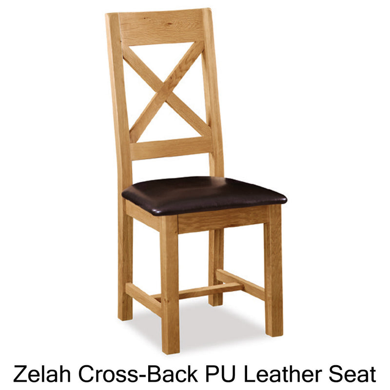 Zelah cross-back leather seat chair