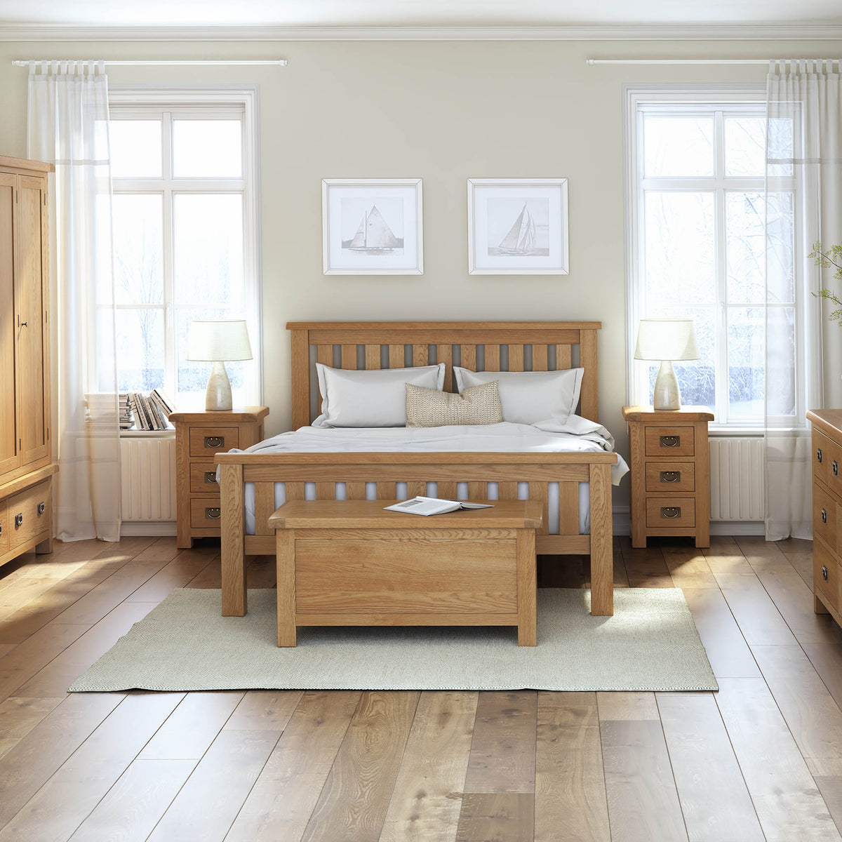 Zelah Oak 4'6 Slatted Bed - Lifestyle