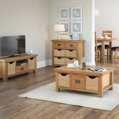 Zelah Oak 120cm TV Stand with Baskets - Lifestyle
