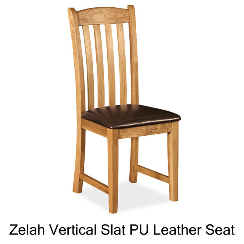Zelah vertical slat leather seat chair