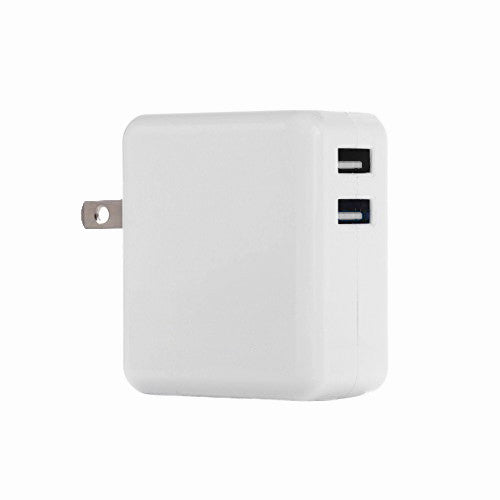 Dual USB AC Power Adapter / Charger (2.1A Output) for iPods iPhones iPads