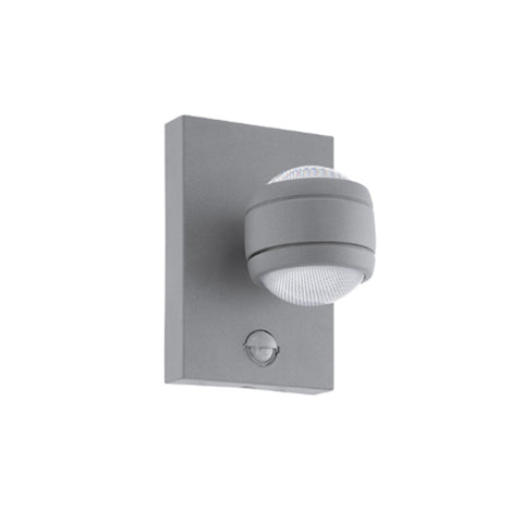 Eglo Sesimba 1 Silver Finish Outdoor LED PIR Wall Light 96019