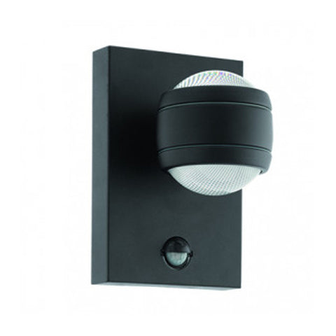 Eglo Sesimba 1 Black Finish Outdoor LED PIR Wall Light 96021