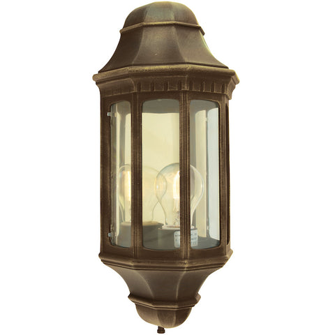 Elstead Malaga Black Gold Finish Outdoor Half Wall Lantern