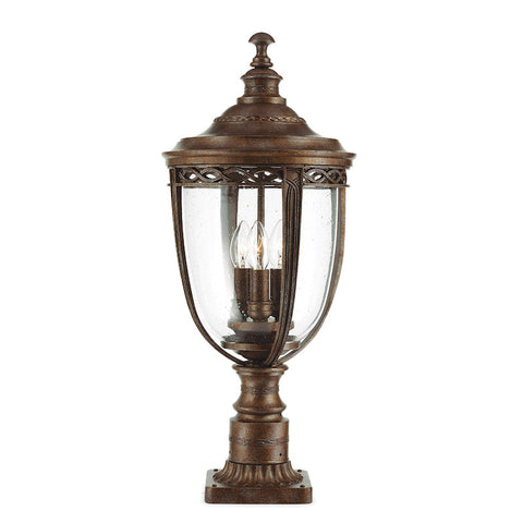 Outdoor lighting sale clearance lines tagged 150 300 elstead english bridle british bronze finish large outdoor pedestal lantern aloadofball Choice Image