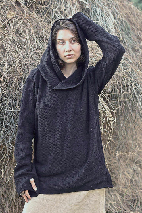 Black Pullover with Hoodie for Women