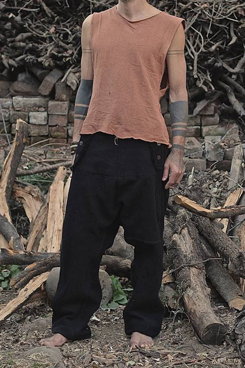 Semi Afghani Wool and Cotton Pants ~ Black