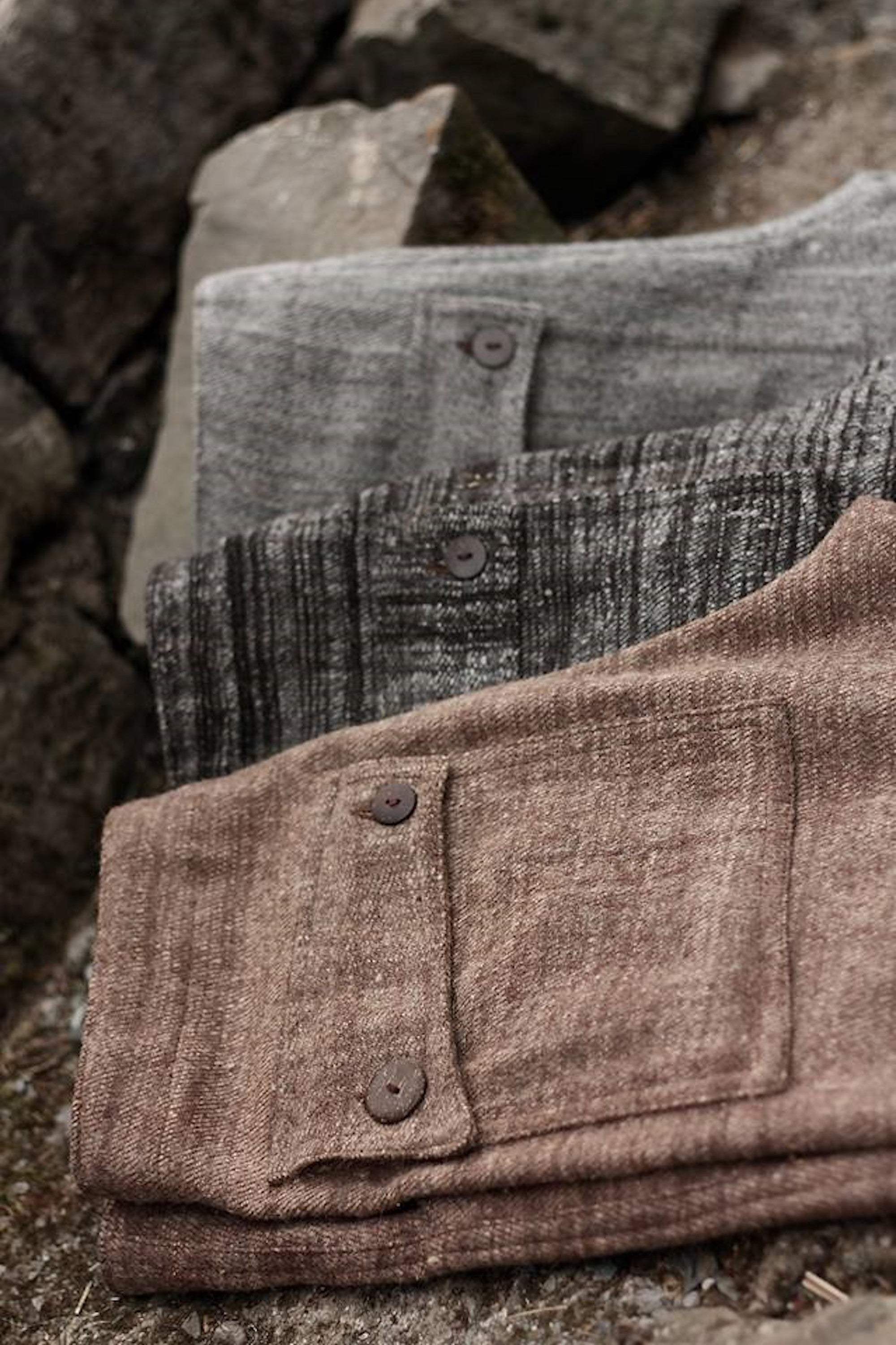 Handwoven Wool Men Straight Pants ⫸ Brown