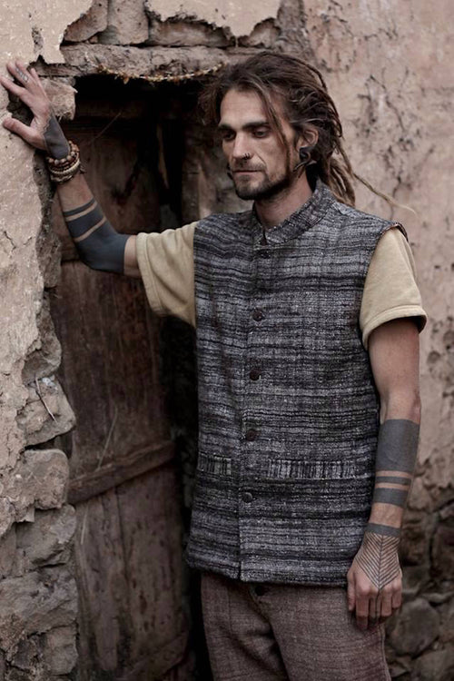 Handwoven Wool Vest • black, brown or grey