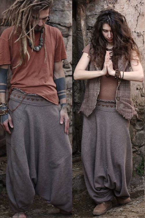 Harem Pants • made of wool with tribal embroidery