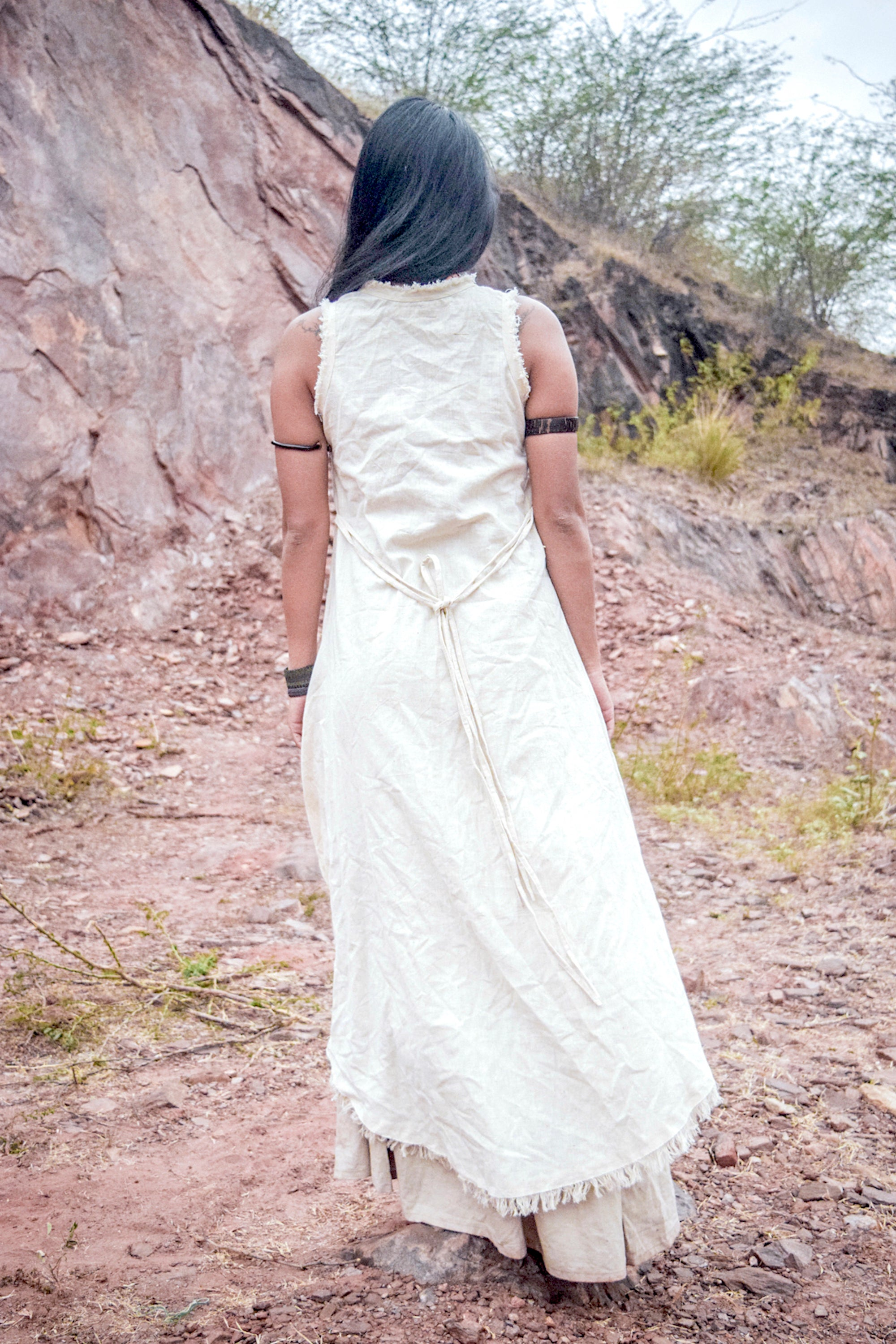 Asymmetrical Sleeveless Dress ⋙ Natural Handwoven Khadi Cotton
