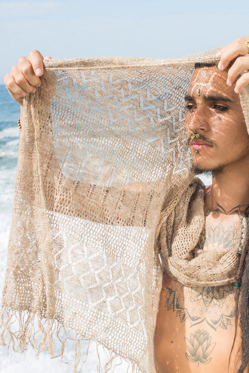 Nettle Shawl ~ Knitted From Himalayan Nettle Fiber ~ Earthy Natural Organic ~