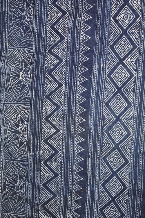 Block Printed Fabric ~ 5 meter roll . Indigo natural dye . Hill tribe