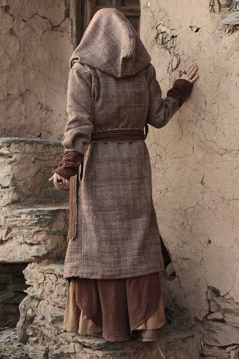 Himalayan handwoven Wool Coat with Hoodie
