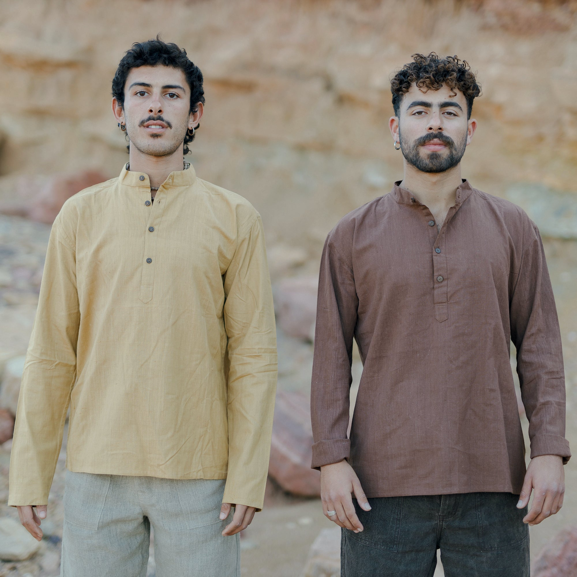 Short Kurta ⫸ Natural Dye ⫸ Light Brown Khadi Cotton