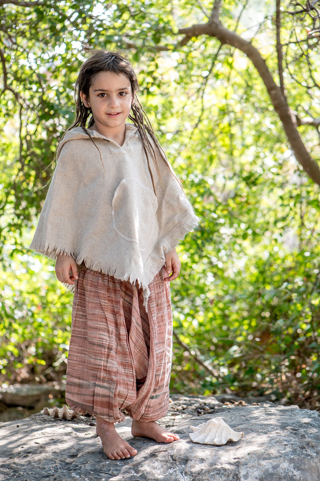 Grey Wool Poncho For Kids. Pure Handwoven Wool poncho.
