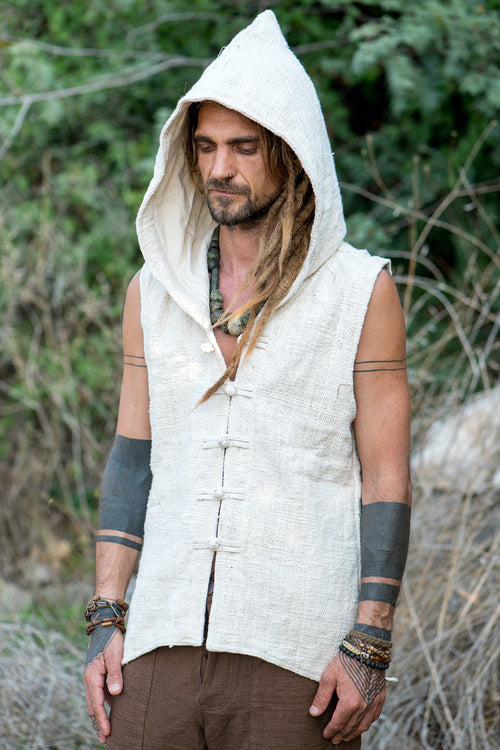 Tibetan Vest with Hoodie ⋗⋙ Natural Khadi Cotton