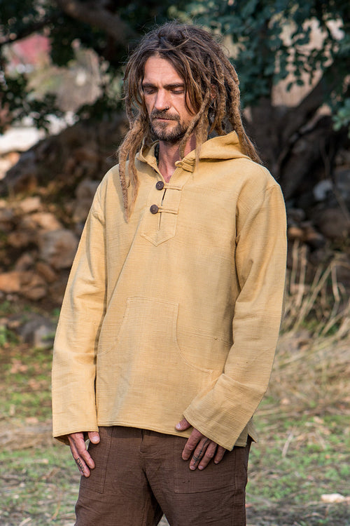 Light Brown Pullover with Hoodie ⫸ Natural Dye ⫸ Khadi Cotton