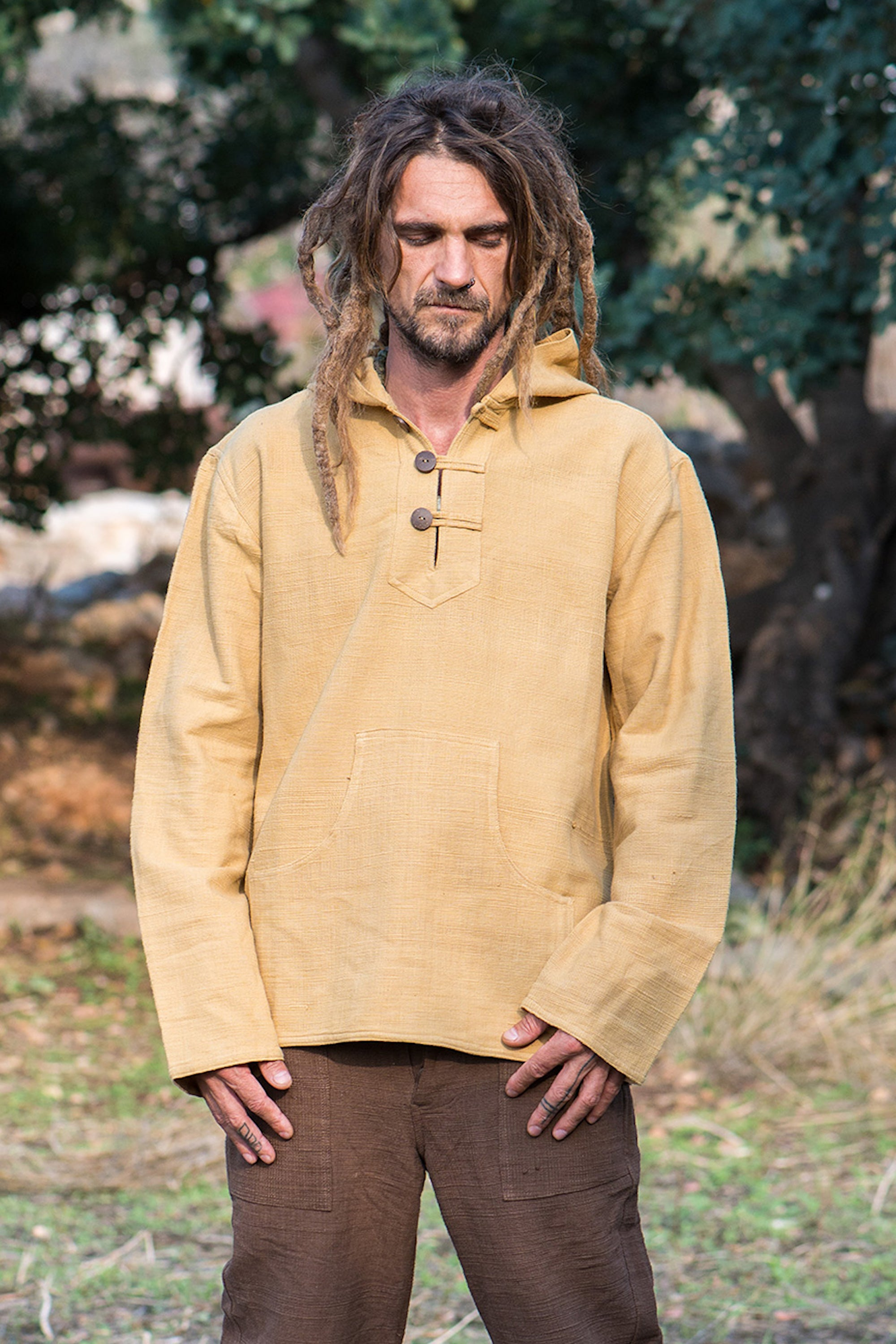 Light Brown Pullover with Hoodie ~ Natural dye khadi cotton