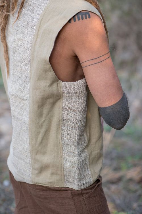 Panels Vest Handwoven Hemp And Cotton