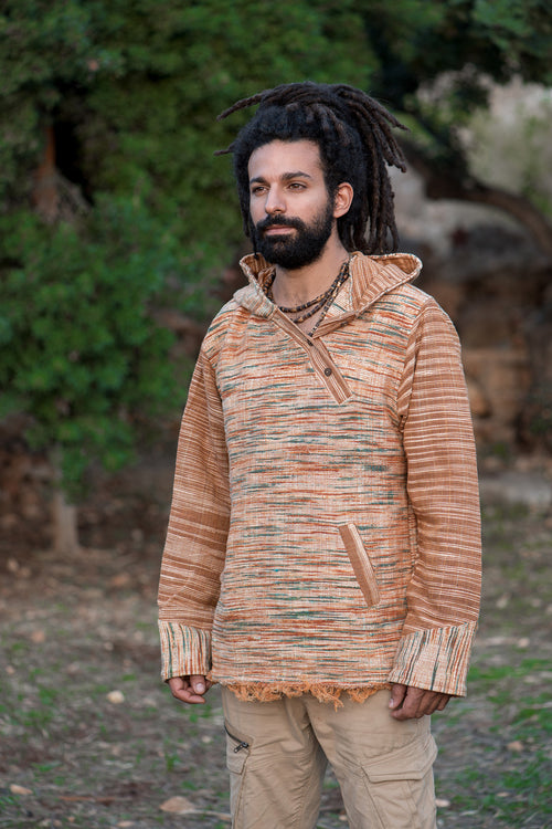 Khadi Cotton Shirt with Hoodie & side buttons ~