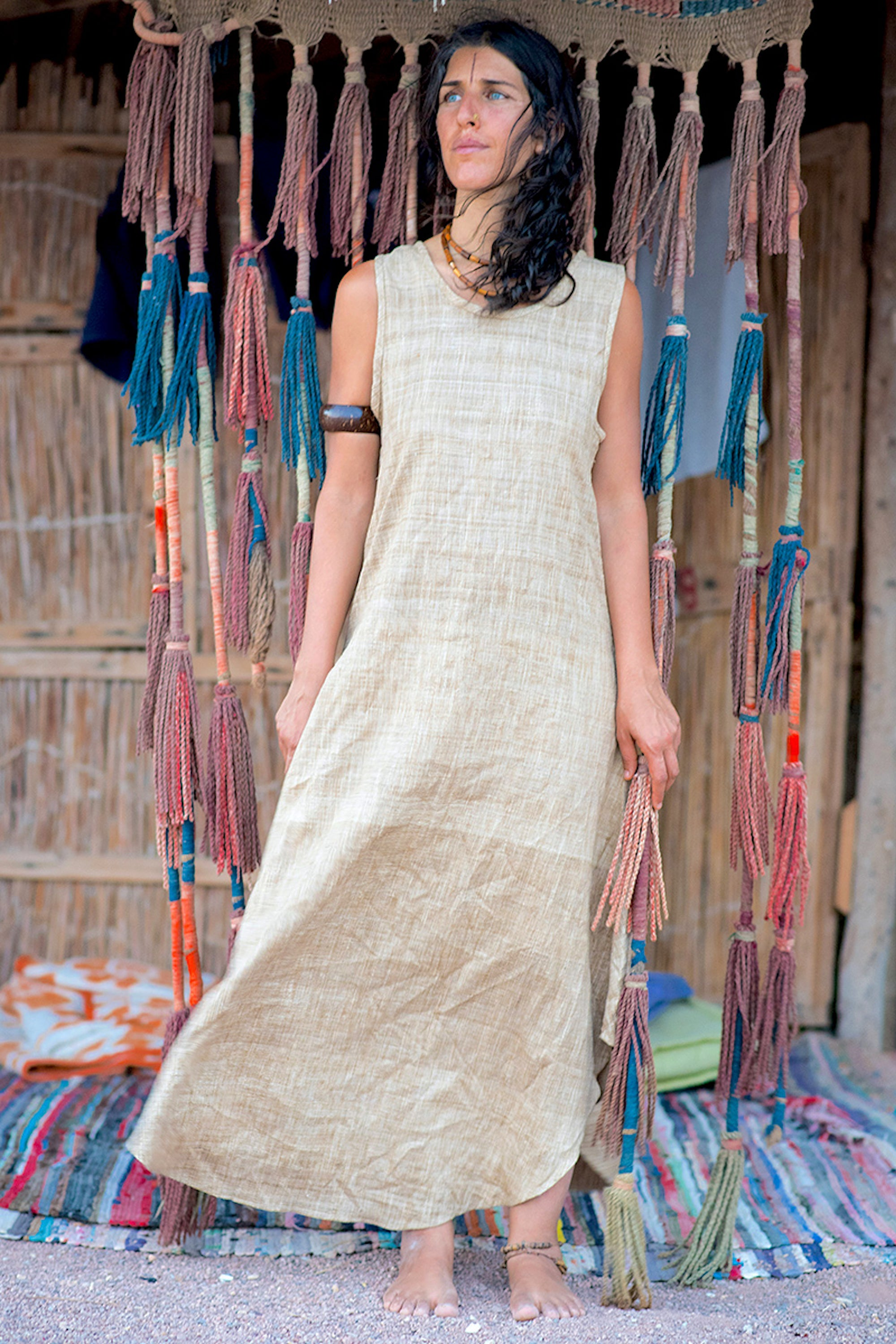 Long Sleeveless Dress ~ Natural Handwoven Raw Silk ~