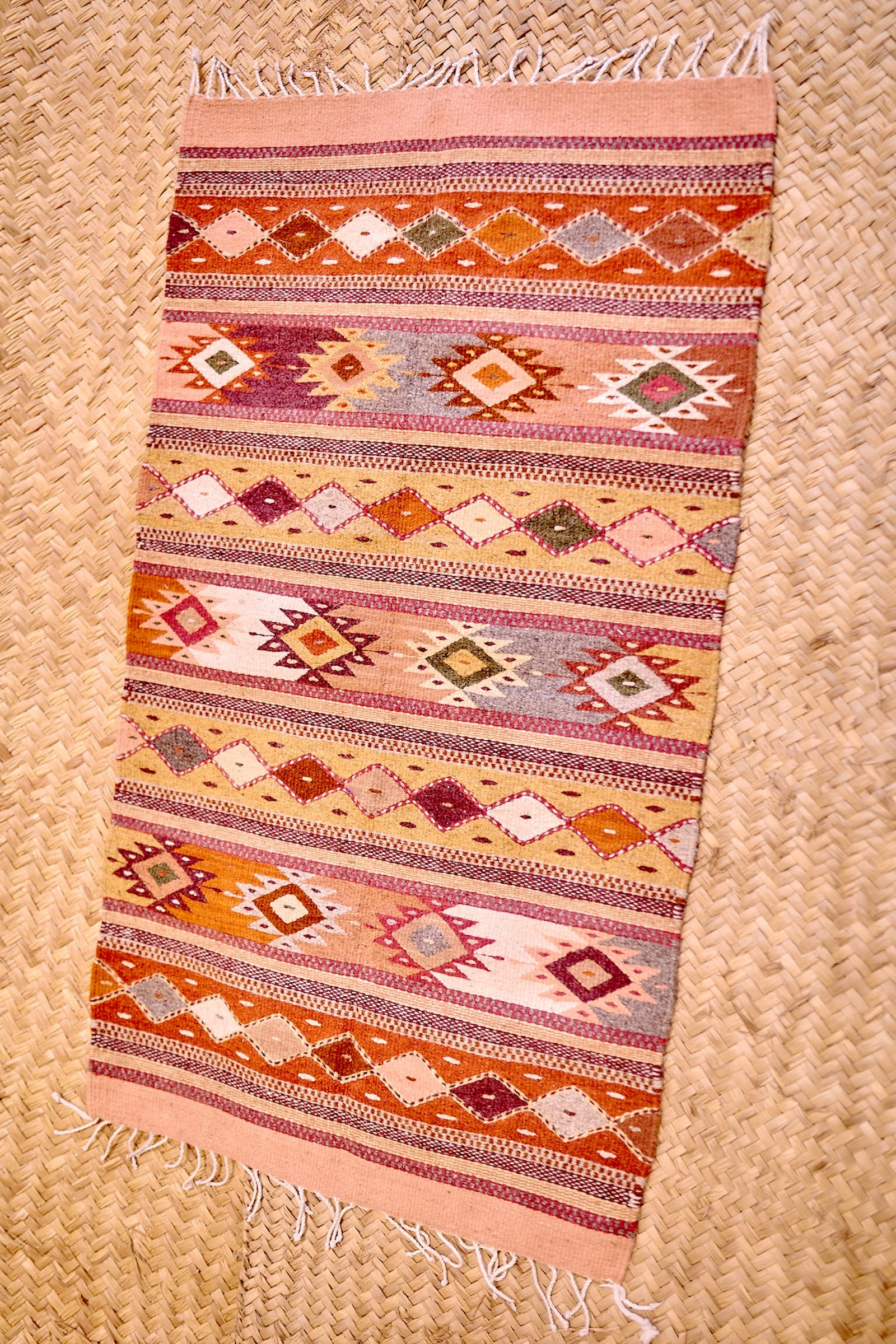 Zapotec Inspired Rug ⫷⫸ Handwoven Plant Dyed Small Carpet ⫷⫸ Pure Wool Plant Dyed