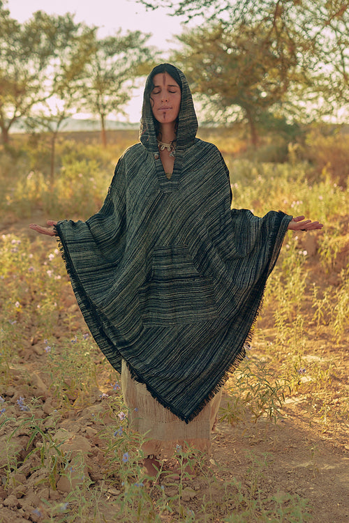 Wool Poncho with Hoodie • Extra Long Length Poncho