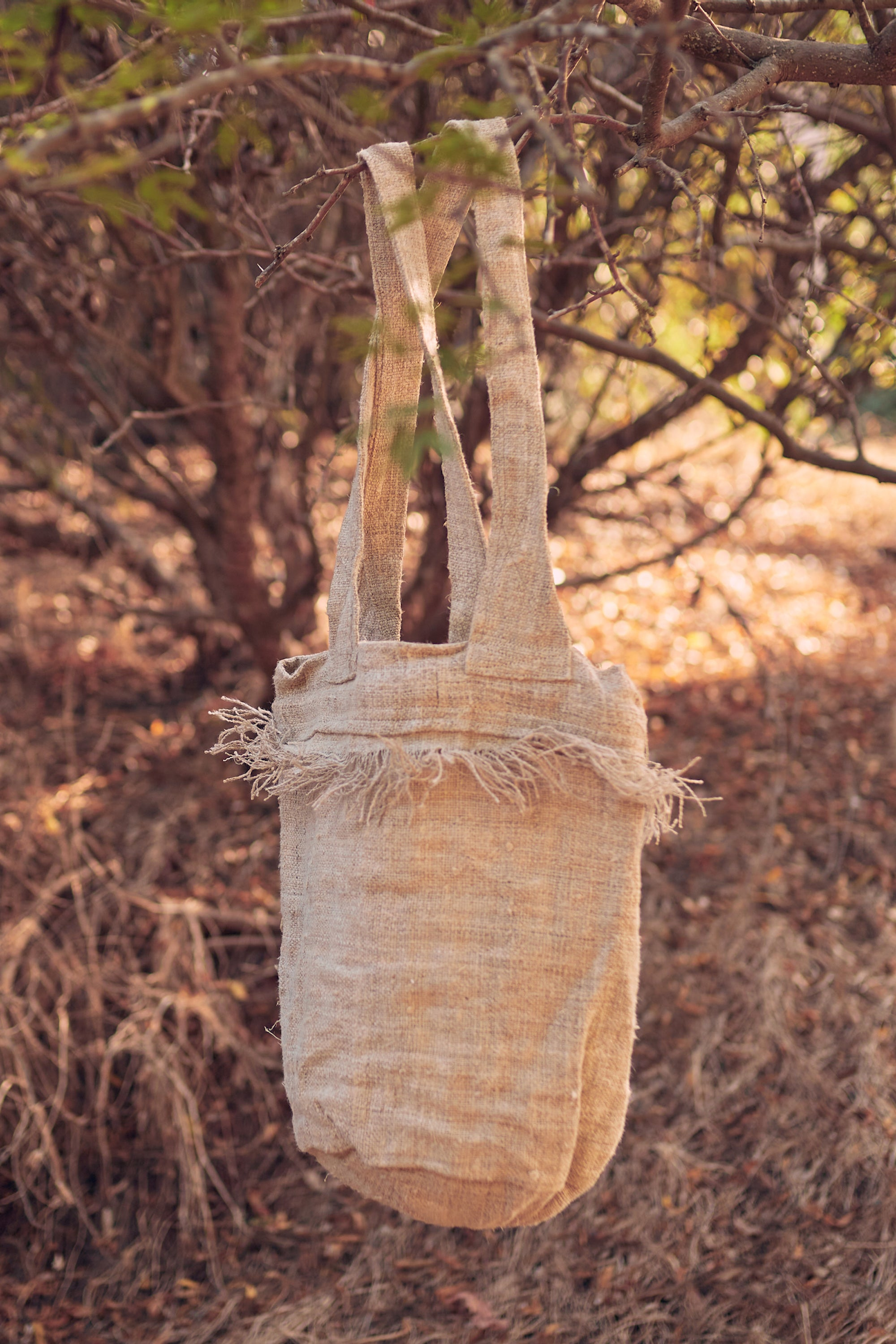 Hemp Frayed Side Bag