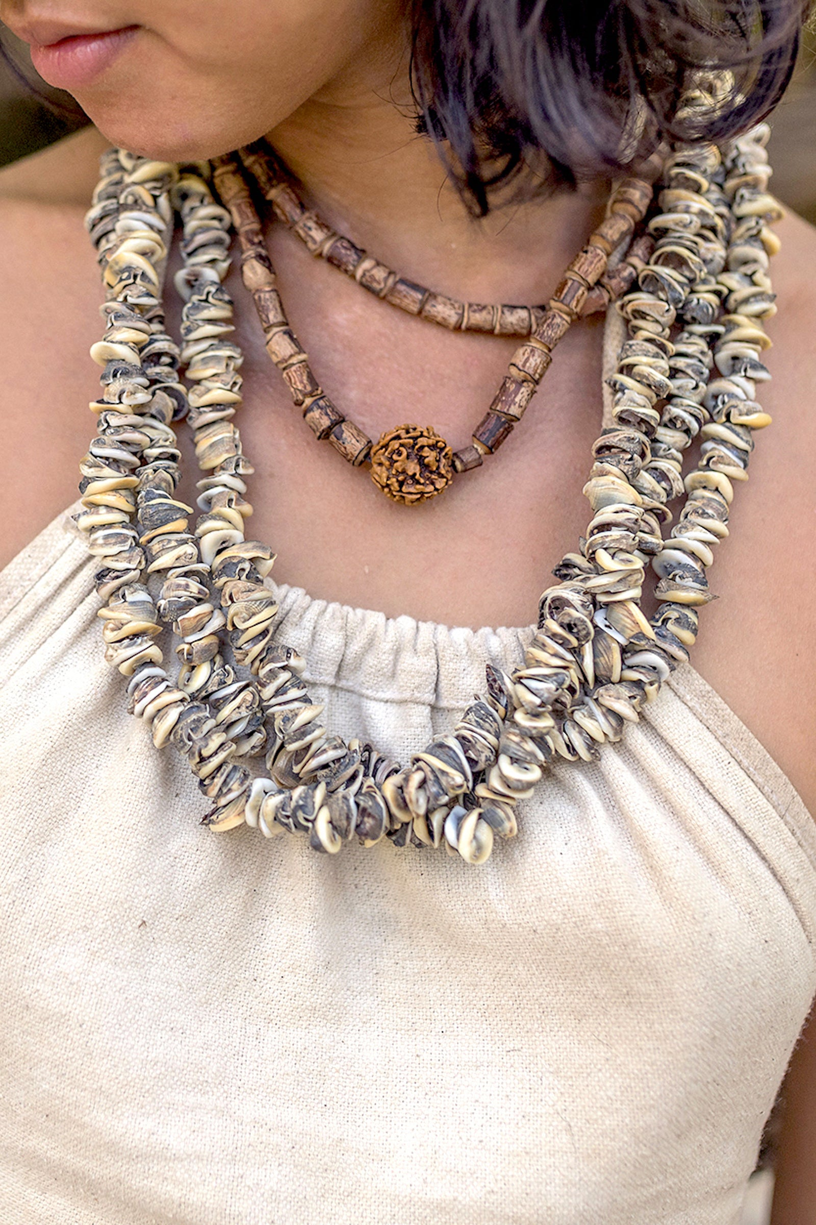 Papua Tribal Sea Shells 3 Strands Necklace • Natural jewelry • Handmade jewelry • Tribal Necklace • Tribal jewelry • Ethnic necklace