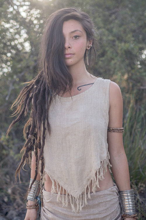 Frayed Pointy Top ~ Hemp Cotton. Hippie top. Gypsy top. Nomadic top. Folk top. Natural top. Organic top. Primitive Tribal Craft. Goa top.